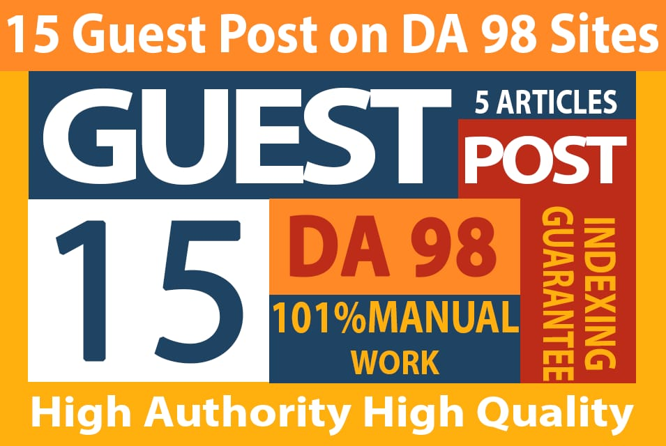 I will write 5 Articles Manually Guest Posts On DA 90 Sites to Rank your Website.