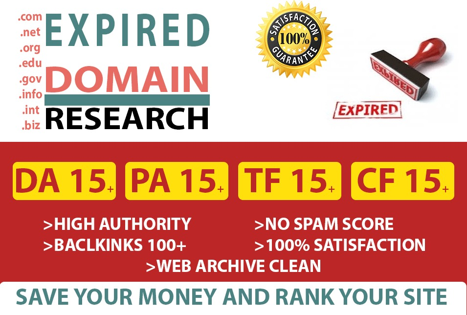 I will Provide you 2 Expired domain Research with DA 15 and PA 15 according to your niche