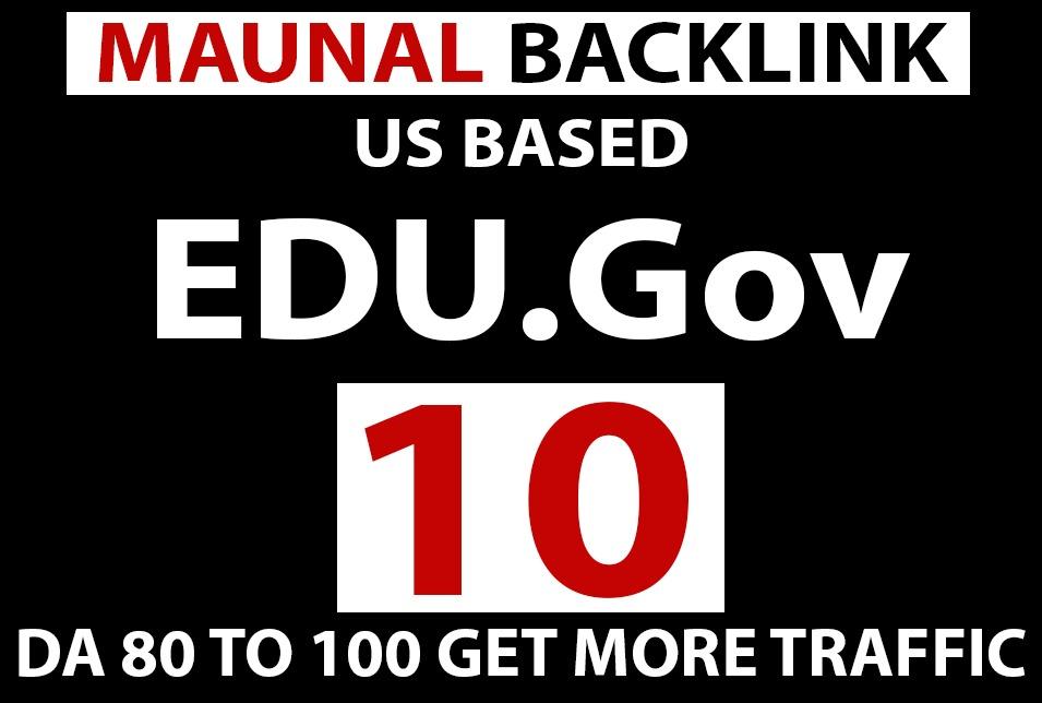 US Based 10 EDU. GOV manually High Authority Backlinks Da 80
