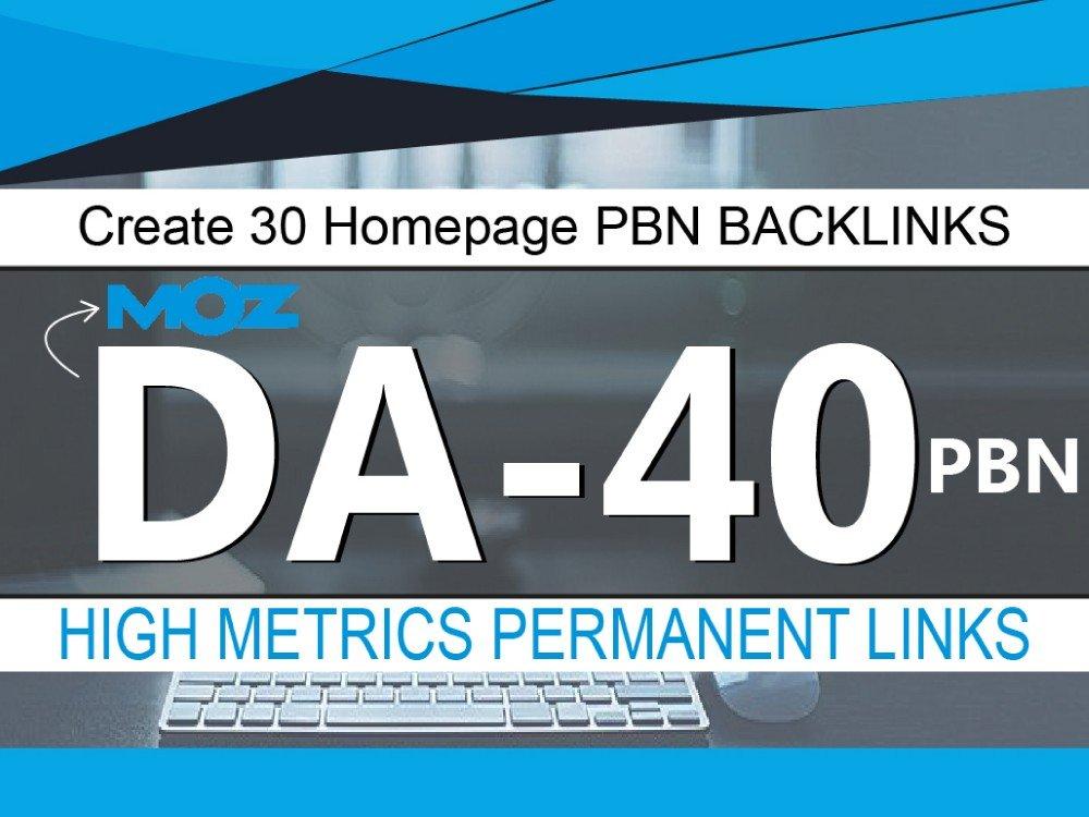 Create 30 PBN Homepage Backlink High Da Pa site's