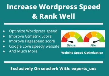 I will increase wordpress speed optimization with gtmetrix pagespeed