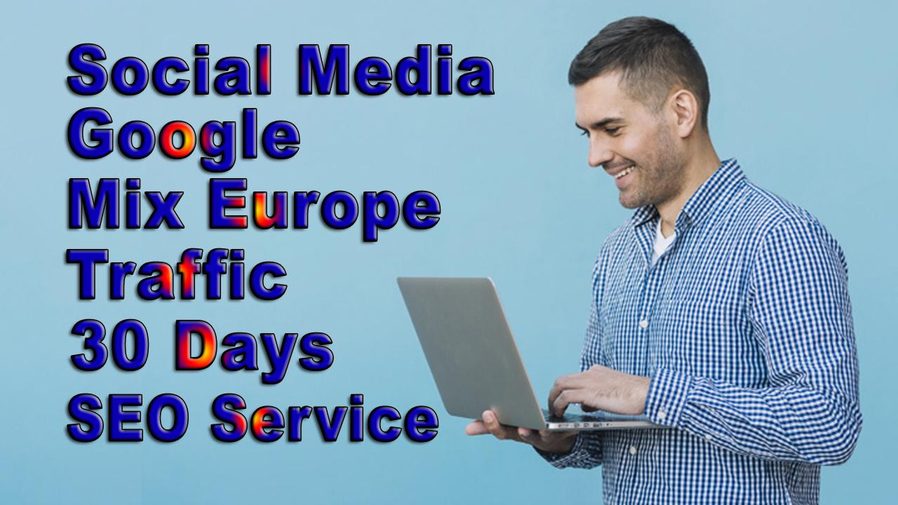 Google Social Media Europe Traffic for 30 days
