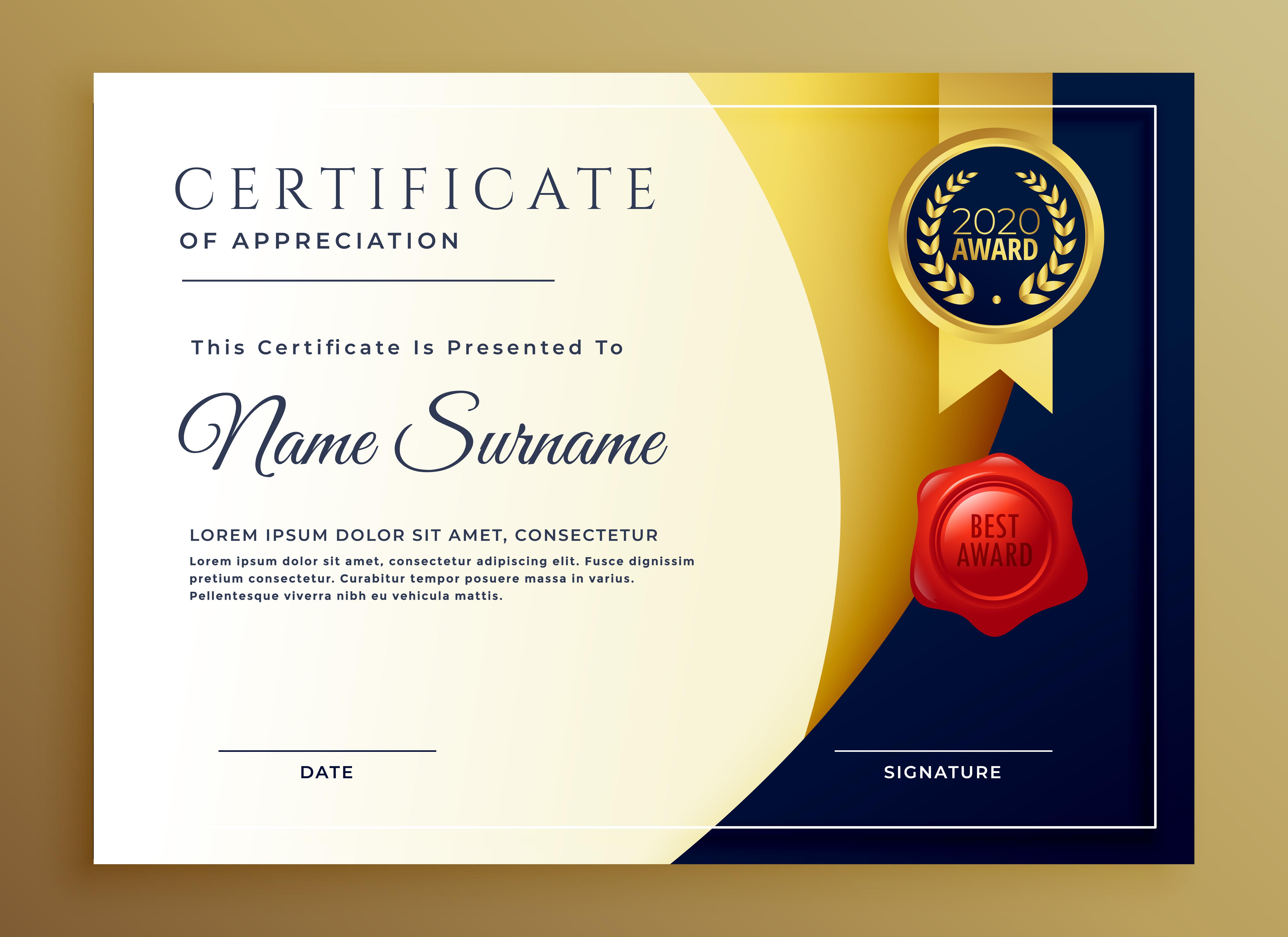 certificate template diploma appreciation award professional elegant vector sample creative freepik link