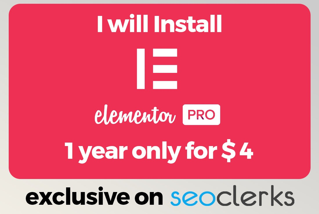 I will Install Elementor Pro for 1 Year activation And get updates