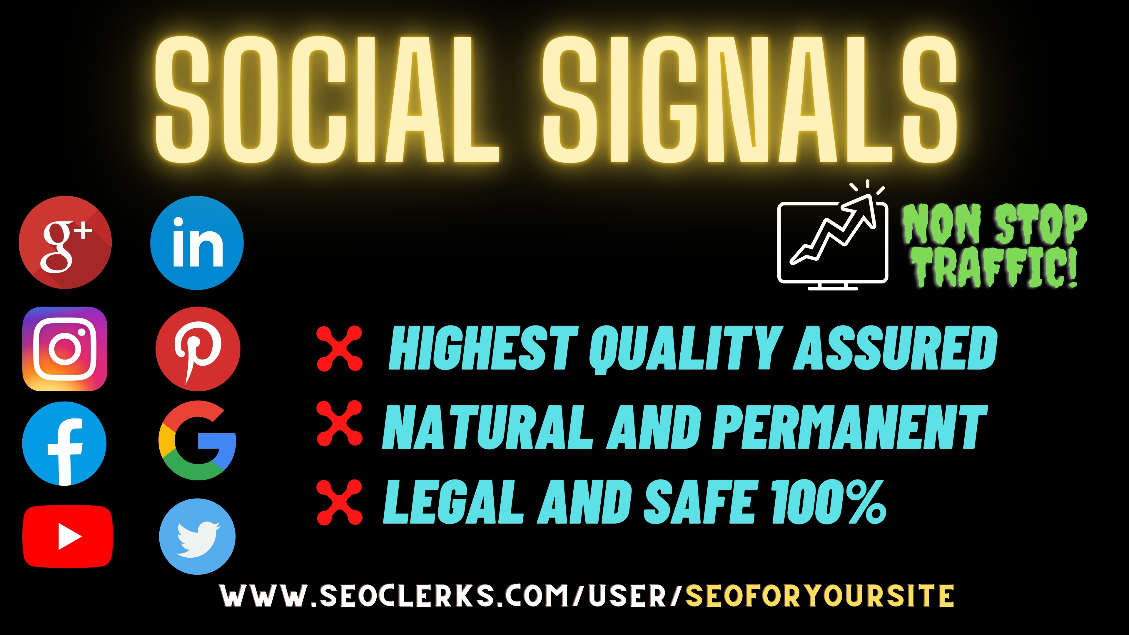 Boost your website with 300 powerful social signals from only high PR websites