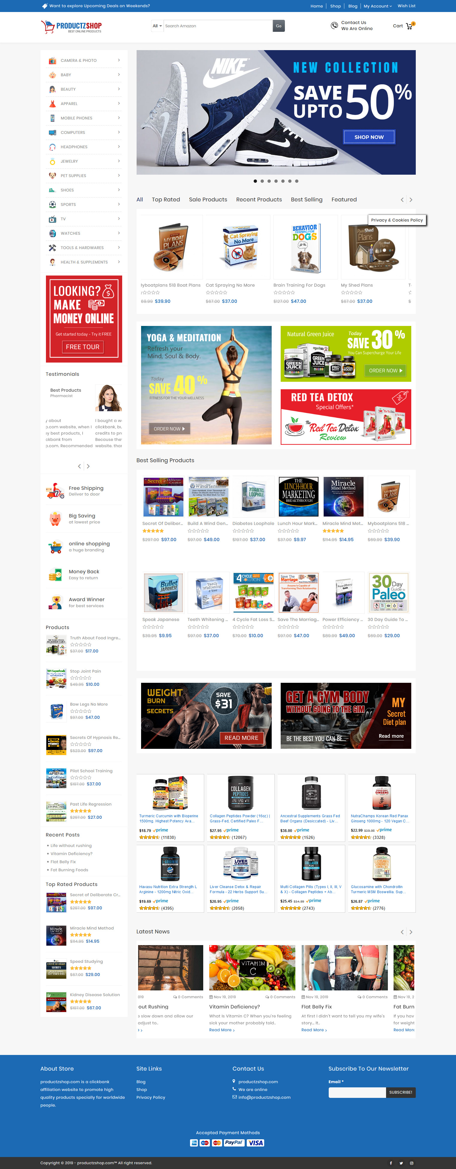 I will create an Amazon Shop Online Affiliate Business Website Free Marketing Plan