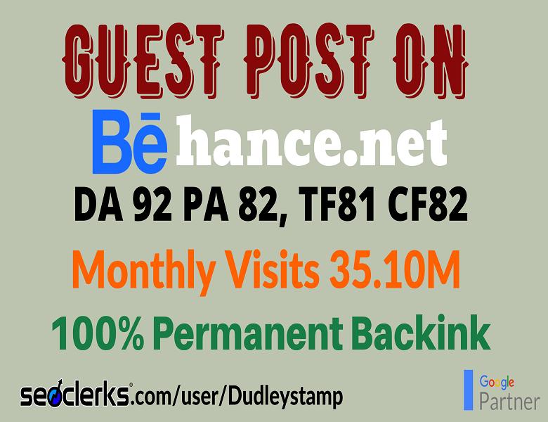 Write And Publish Guest Post on DA 92 Behance. net Design Blog