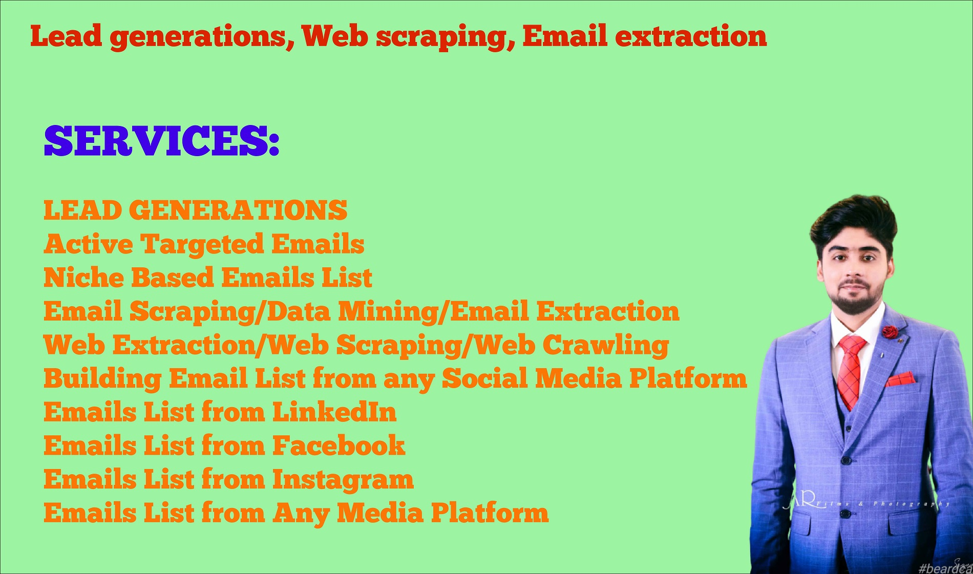 I will do lead generation, web scraping, email extraction in 24h