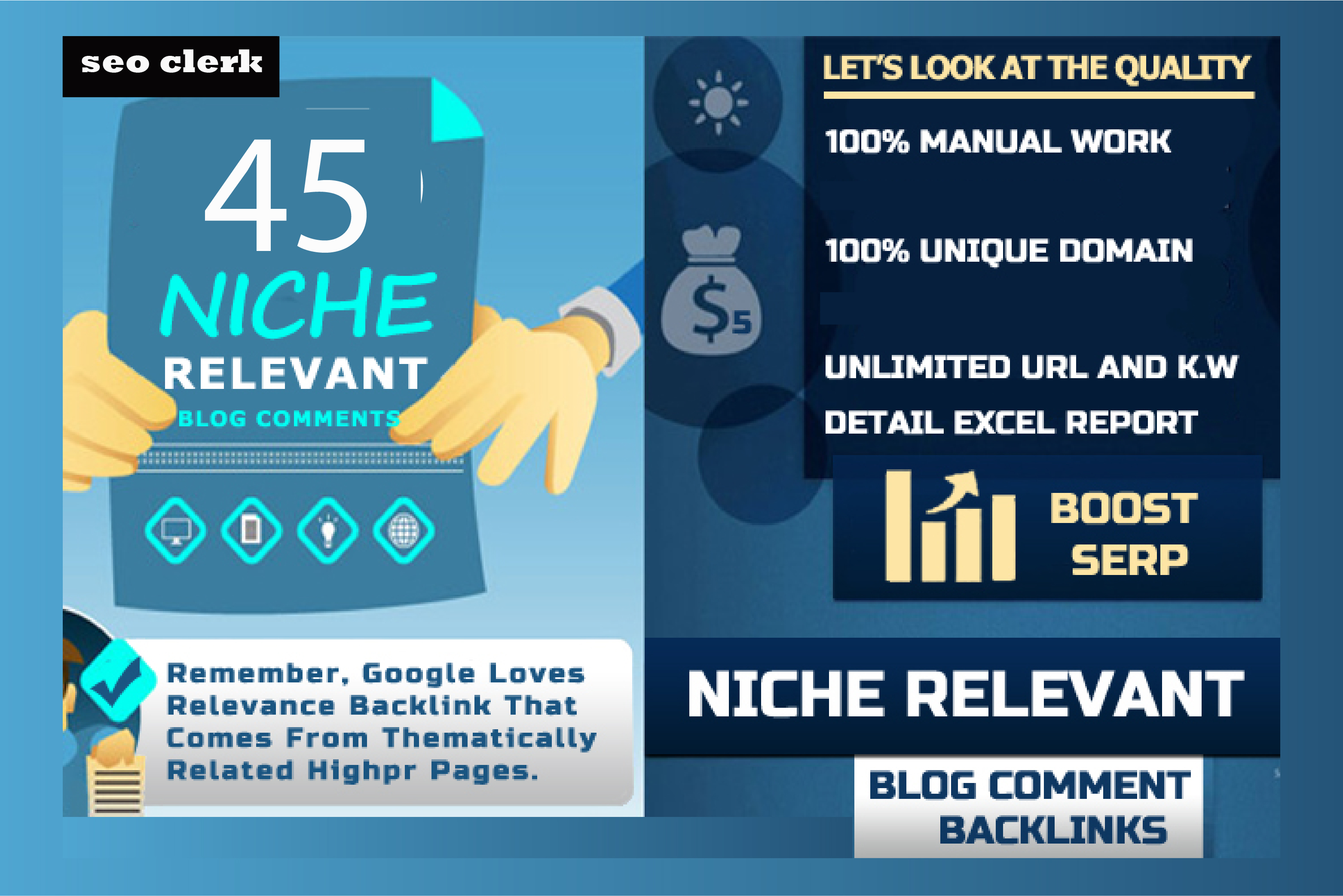 I will do 45 niche relevant backlinks as your website niche