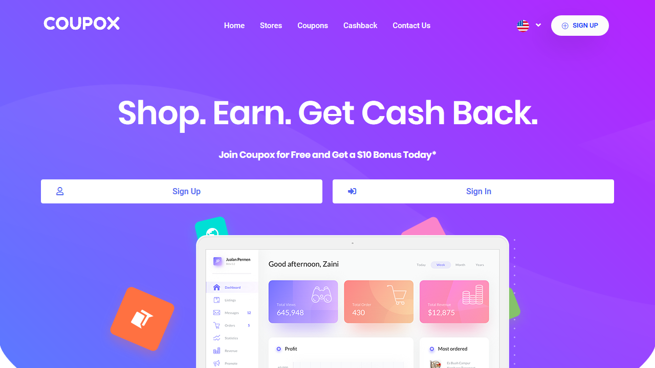 I will give cashback website and android apps with 3000 stores