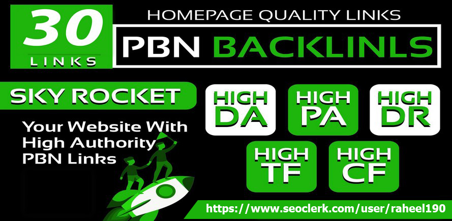 we are provide 30 manual homepage permanent pbn backlink with da pa tf cf and DR