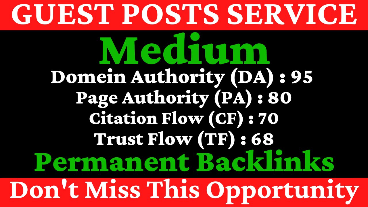 I Will Write And Publish A Guest Post On Medium DA 95 PA 80 With Permanent Backlinks