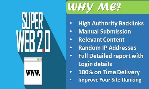 I will create dofollow high authority contextual web 2 0 seo manual backlinks