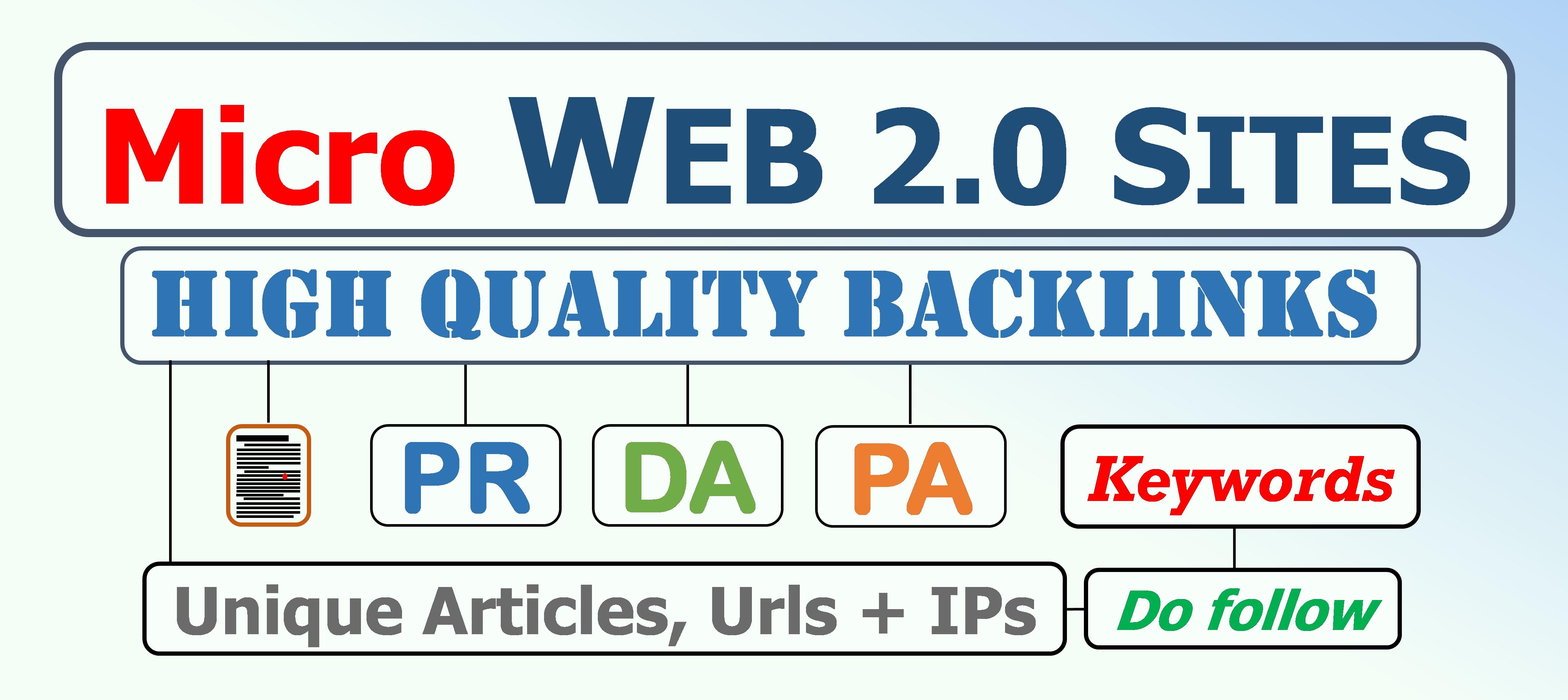 Micro Panda Safe 4.2 Backlinks with PR, DA, PA, do follow Web 2.0 Blogs for Organic traffic