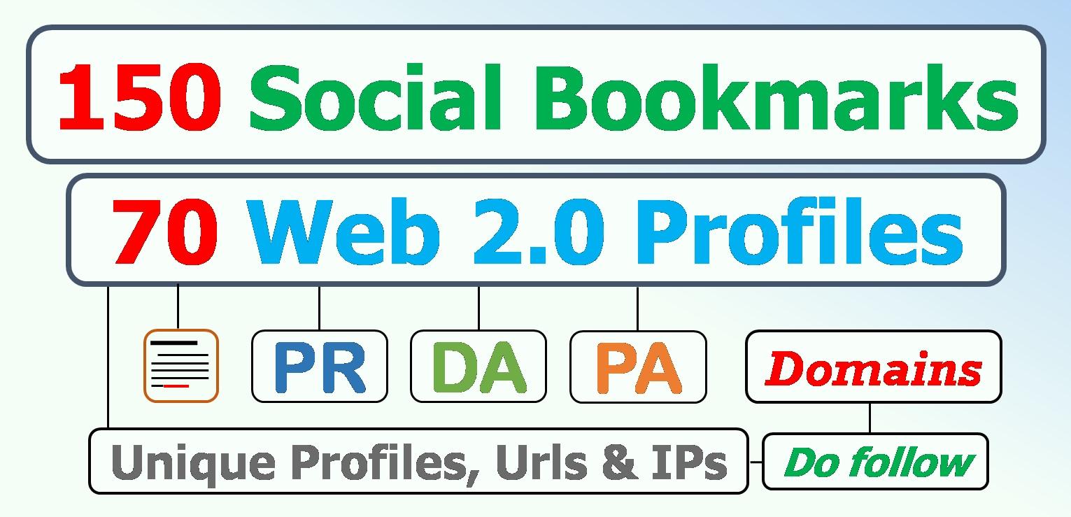150 Unique social bookmarking plus 70 Web 2.0 profiles Panda Safe for your domain