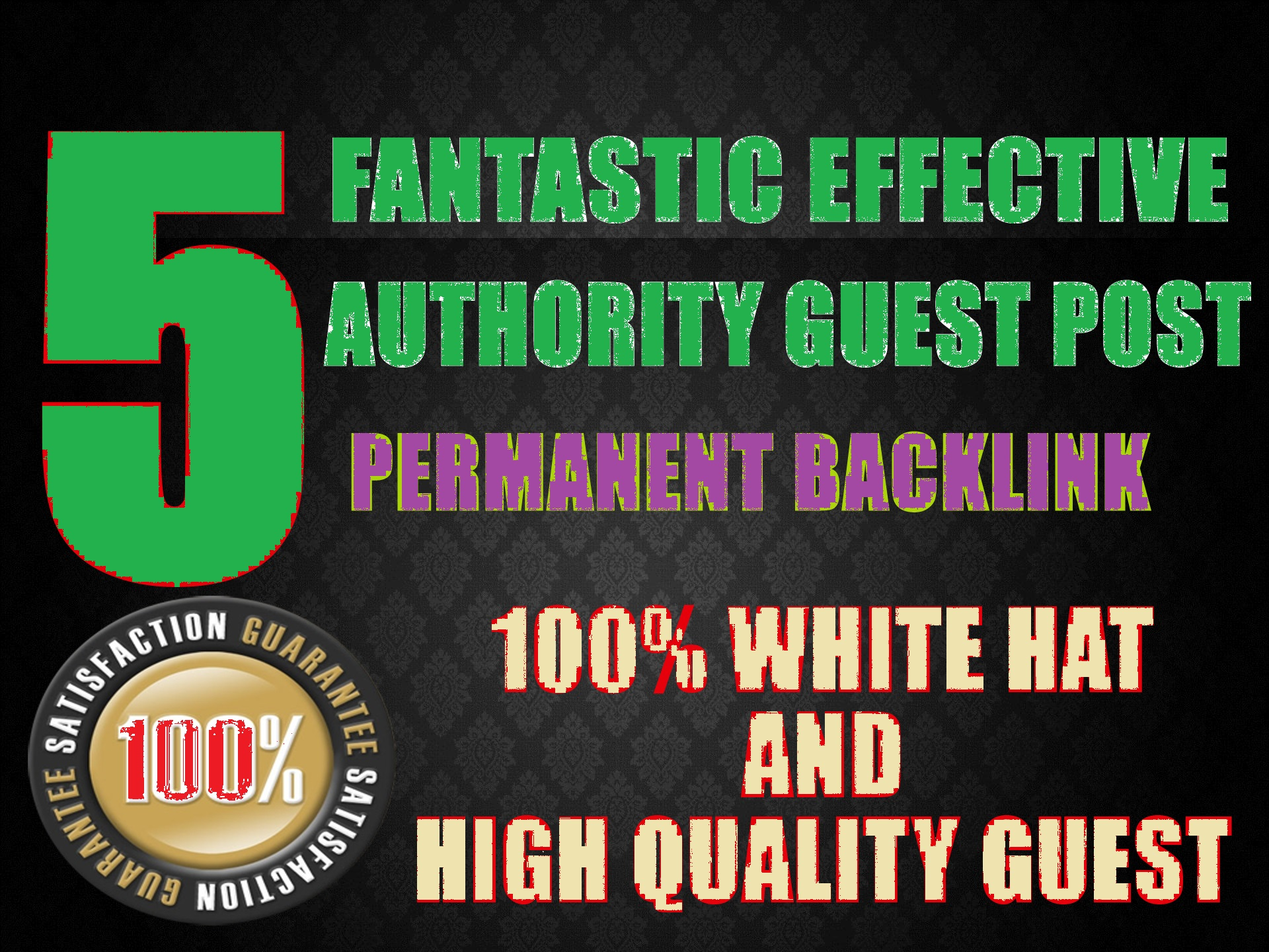 I Will Publish 5 Permanent Guest Post backlinks with High DA,  PA