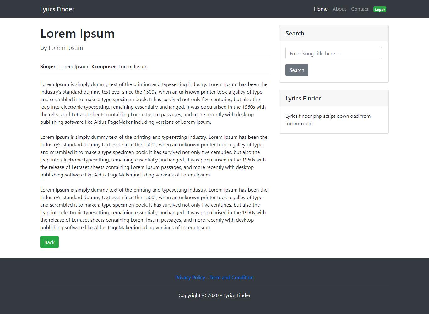 Music Lyrics Finder PHP Script with Admin Panel