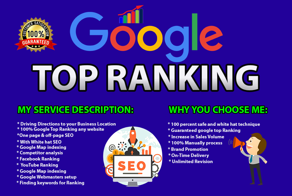I will do google top ranking for your website monthly SEO service