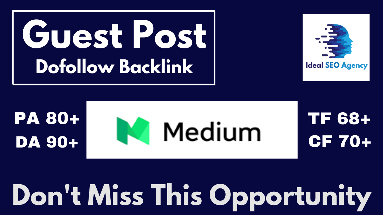 Write And Publish A Guest Post On Medium DA 90+ PA 80+ with Google Index Permanent Backlink
