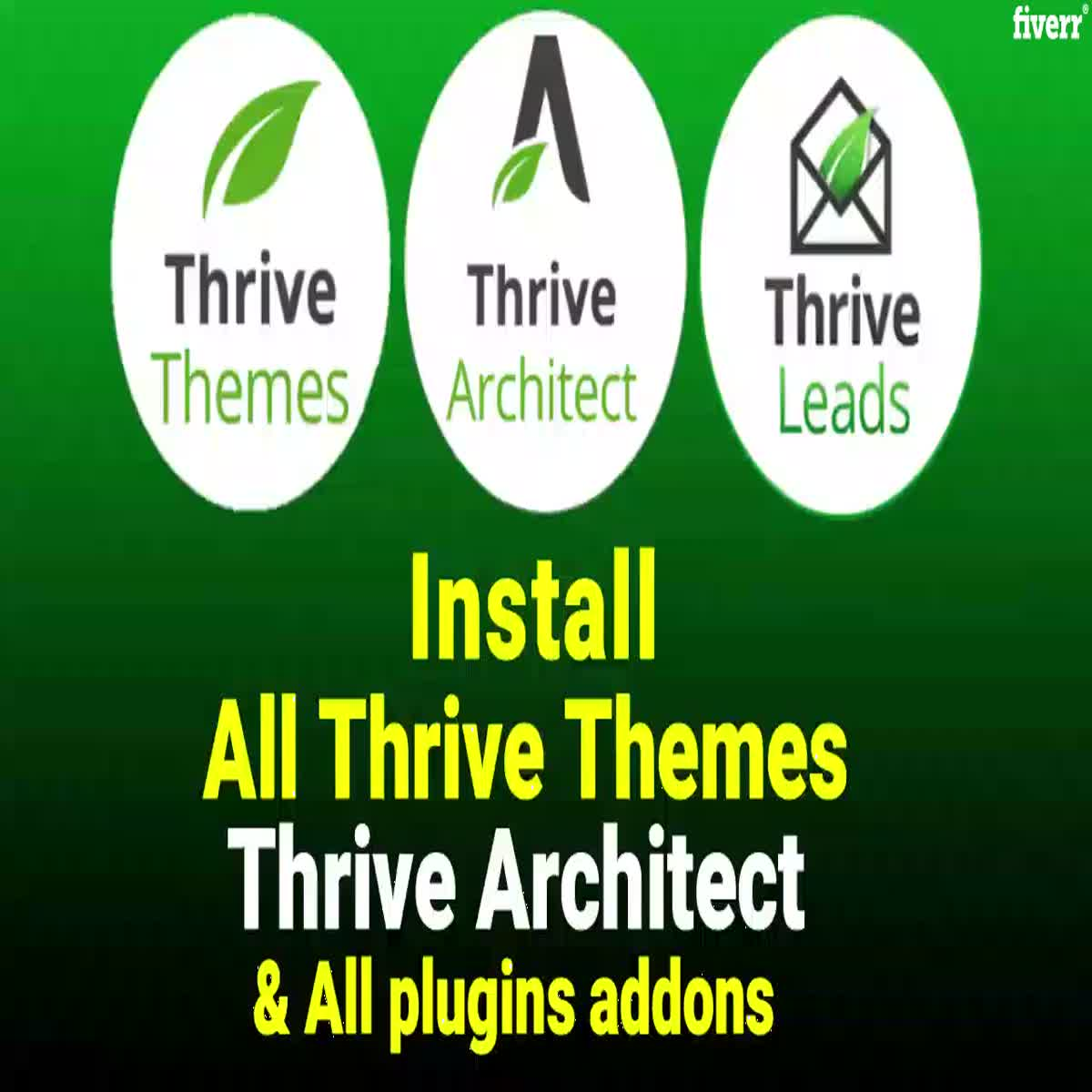 I will install Thrive Architect, Thrive Leads and all plugins with lifetime updates