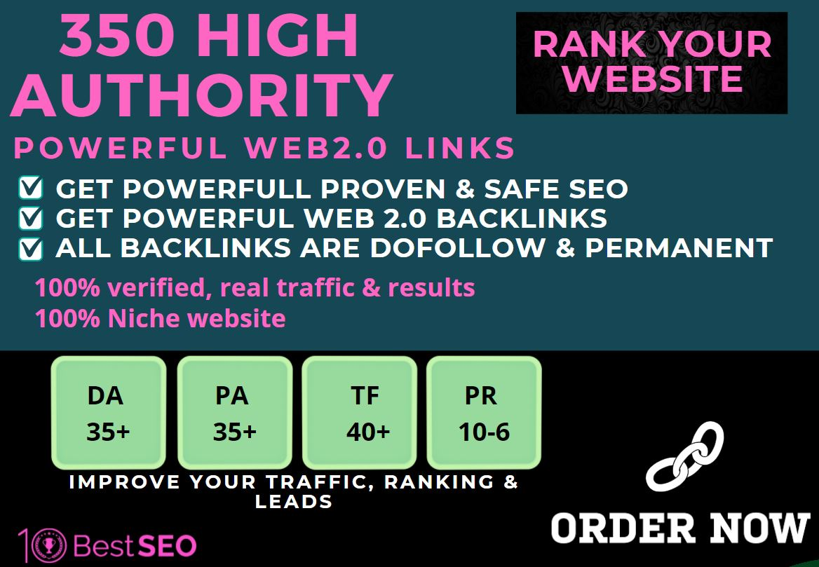 350+web2.0 Backlink with 70+ HIGH DA/PA with unique websites