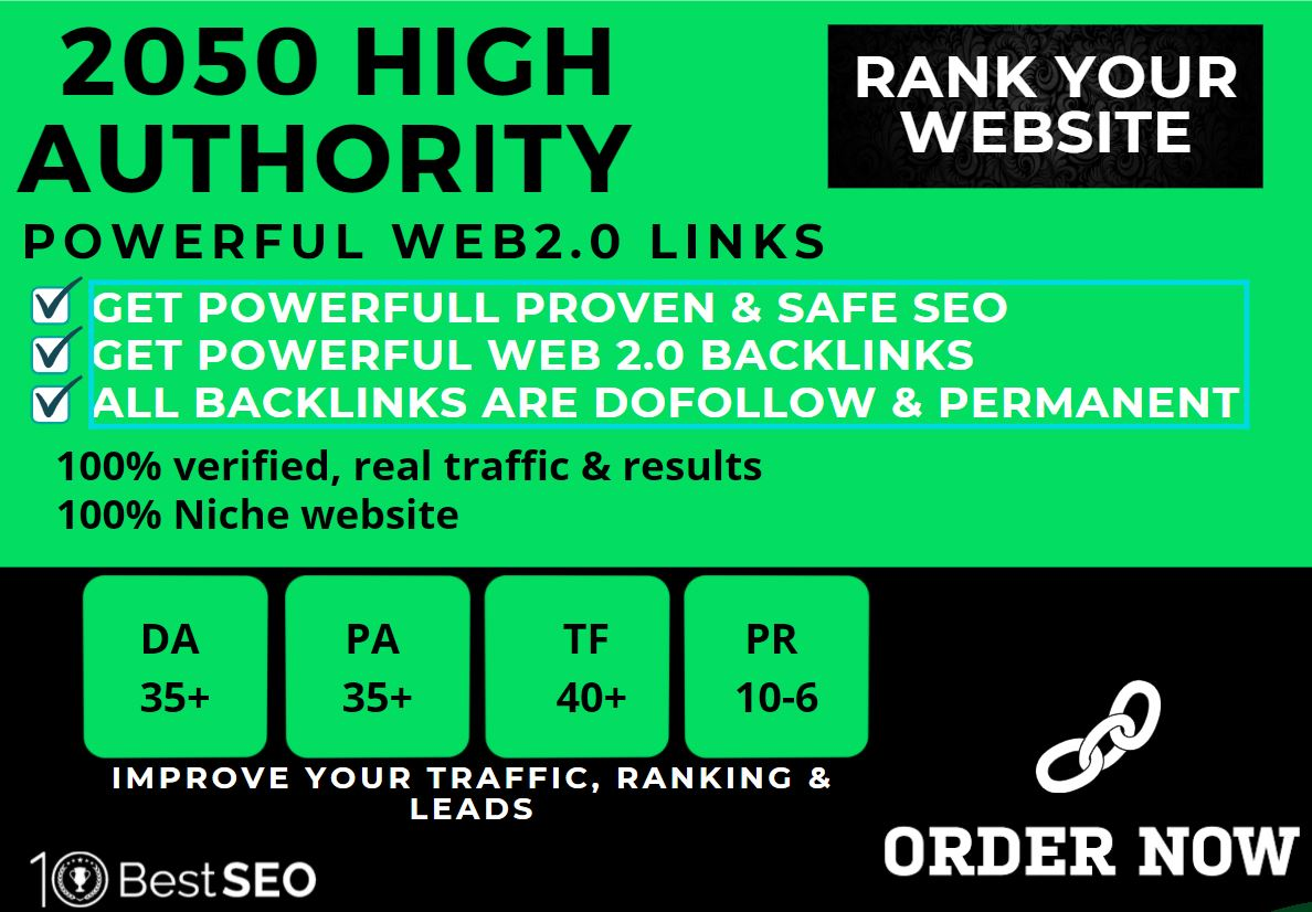 2050+web2.0 Backlink in your website homepage with HIGH DA/PA with unique websites