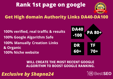 Rank on Google 1st page get seo pack backlinks by Unique Domain