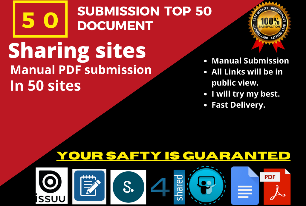 50 Manual PDF Submission on Top Document Sharing Sites With 4shared/Scribd/Docstoc/Slideshare etc
