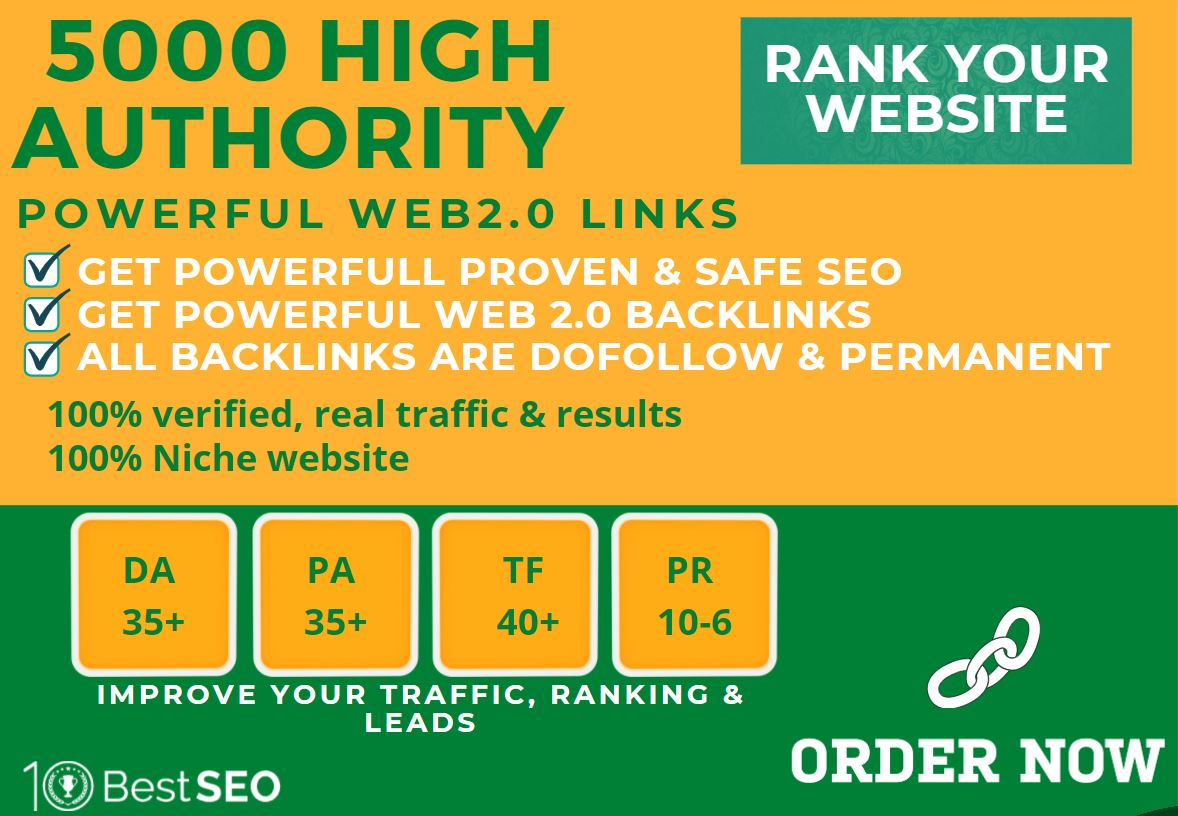 5000+web2.0 Backlink in your website homepage with HIGH DA/PA with unique websites