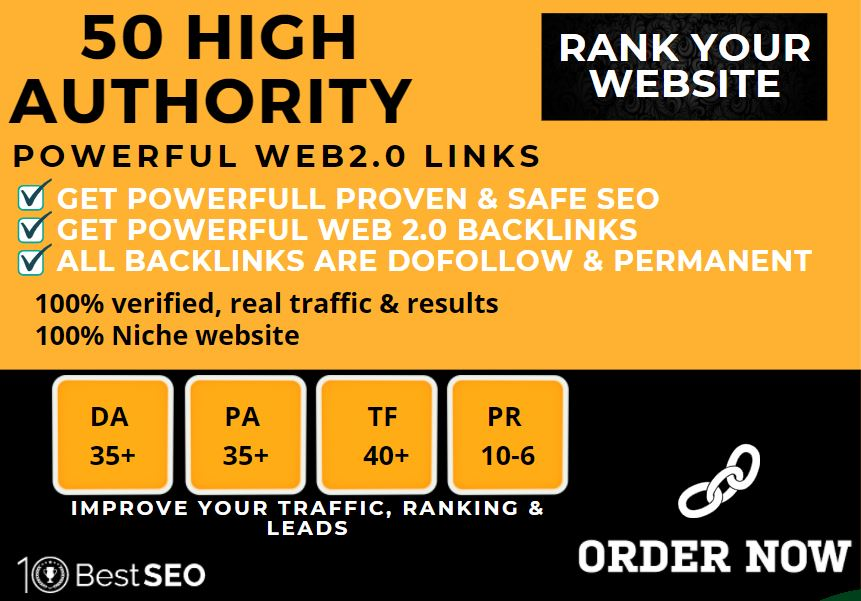 50+web2.0 Backlink. BUY 1 GET 1 FREE with HIGH DA/PA with unique websites