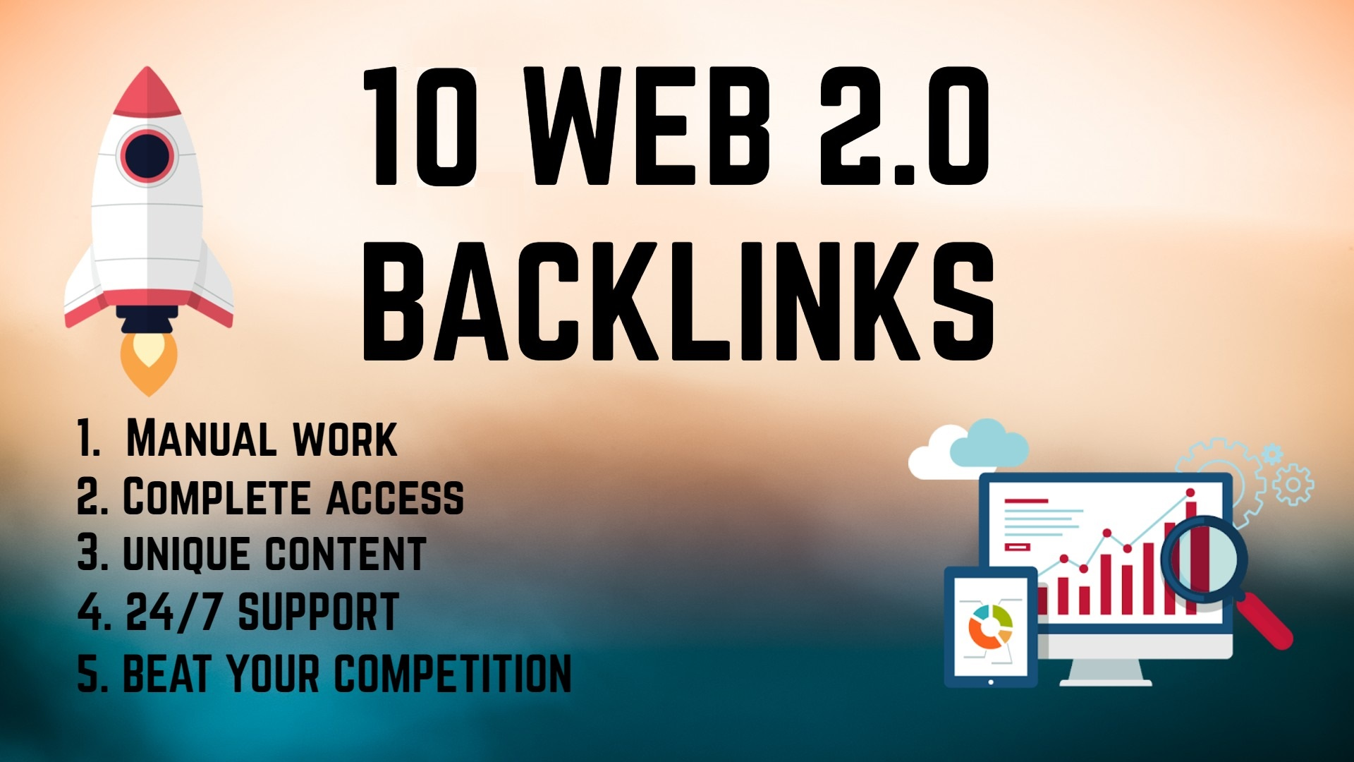 I will create 10 back link web 2.0 pointing to your website