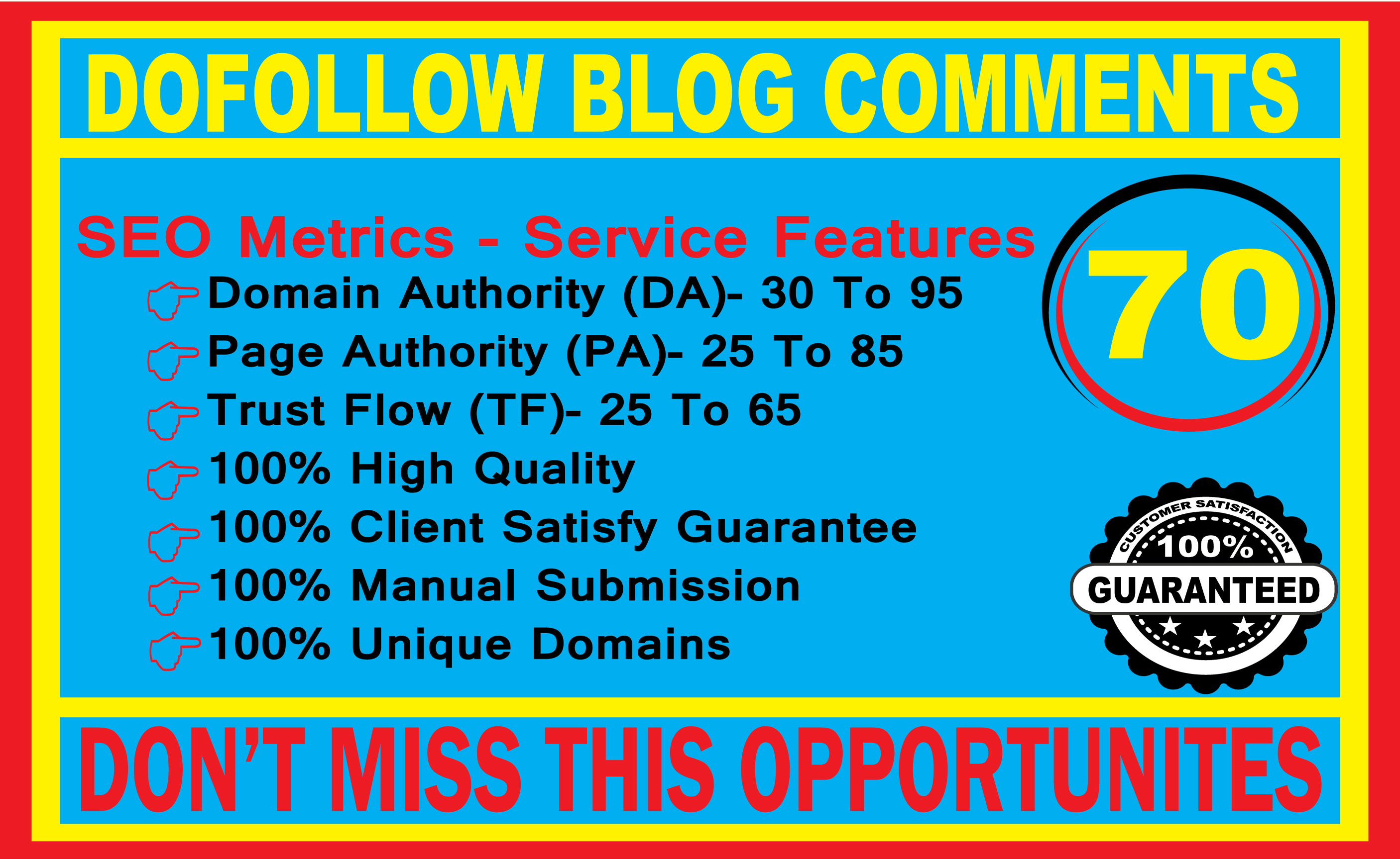 I will create 70 high quality Dofollow blog comments