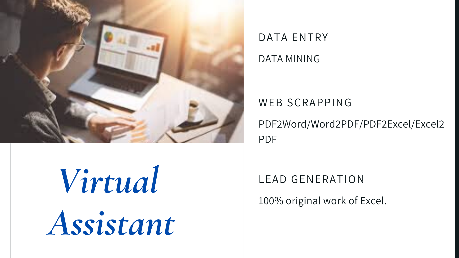 Expert Excel Sheets,  Virtual Assistant,  Data Entry,  Lead Generation