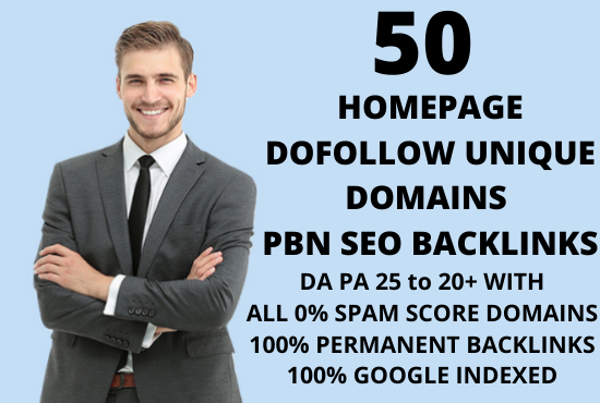 I will create 50 Homepage Dofollow permanent unique domains PBN backlinks on 0 spam score domains