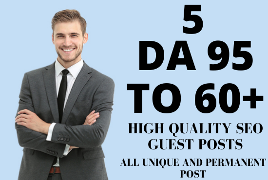 I will create 5 manually permanent guest post on DA 95 to 60+ sites + 10 profile backlinks free