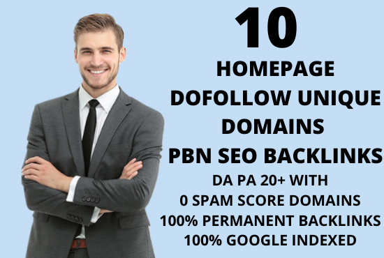we will create 10 Homepage permanent unique domains PBN backlinks on DA 25+ domains