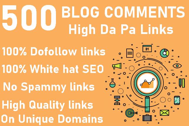Provide 500 High Da Pa Blog Comments Backlinks ON Unique Domains