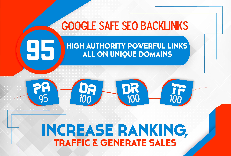 I will build 95 unique domain SEO backlinks on tf100 da100 sites