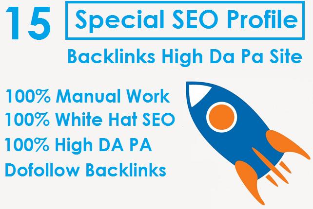 I will Do 15 Special SEO Profile Backlinks High Da Pa Site