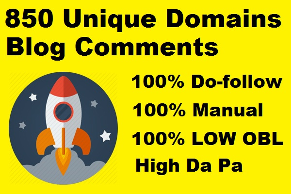 I will 850 unique domains SEO service blog comments backlinks