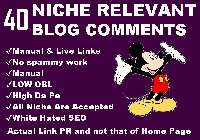 I will Do 40 Niche Relevant Blog Comments High Da Pa Link