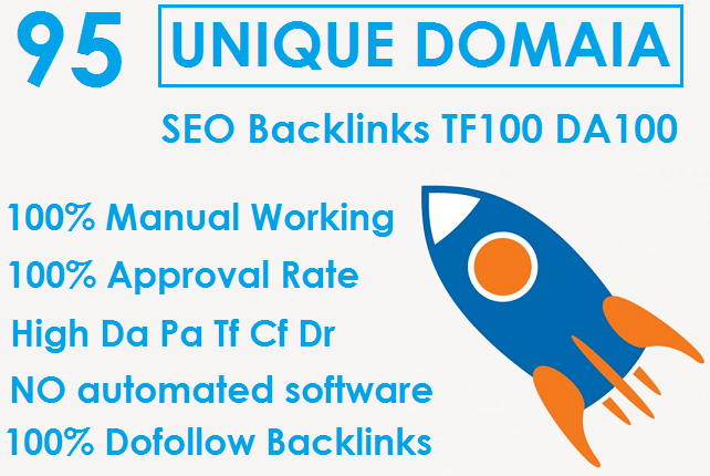 I will Do Build 95 Unique Domain SEO Backlinks On TF100 DA100 Sites