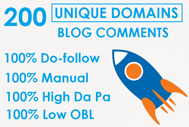 I will 200 Manual Unique Domain Dofollow Blog Comments With DA PA LOW OBL Page