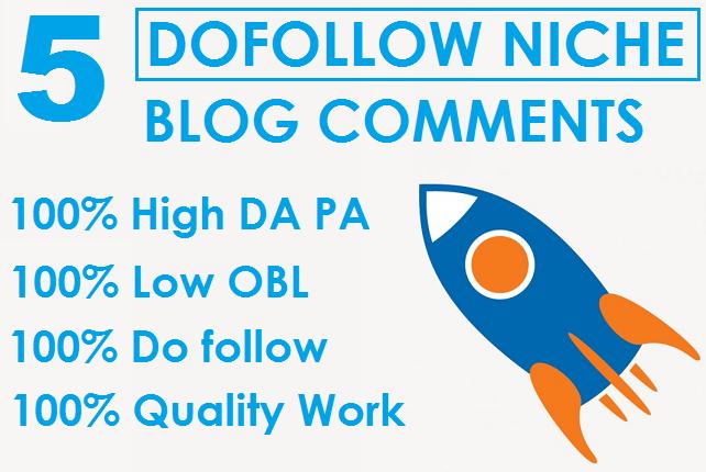 I will Do 5 Dofollow Niche Relevant Unique Domain Blog Commens Backlinks