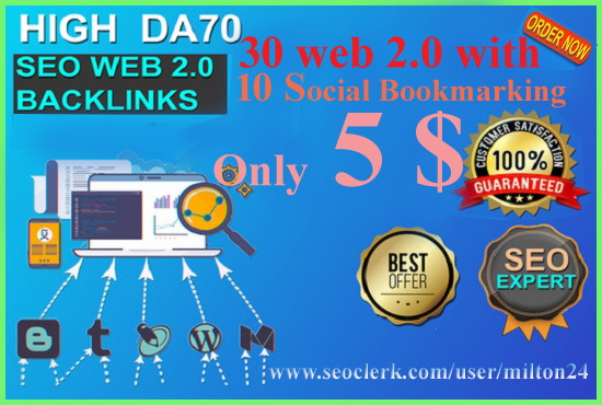 I will create 30 HQ web 2 0 SEO Backlinks with 10 social backlinks Free