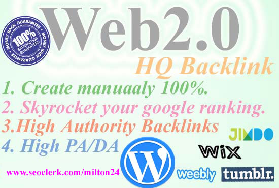 I will create 25 high quality web 20 backlinks high DA/PA