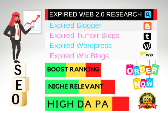 I will find 20 mix expired web 2 0 blogs research