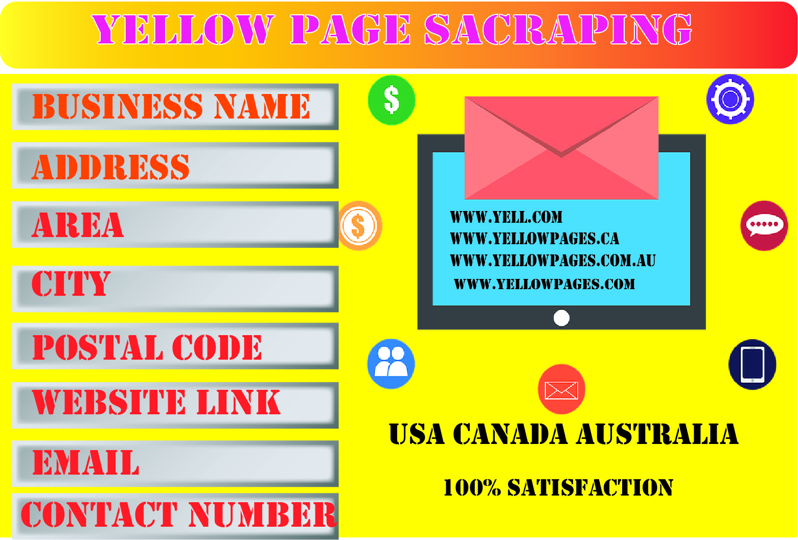 I will do yellow pages scraping for USA Canada and Australia And many more