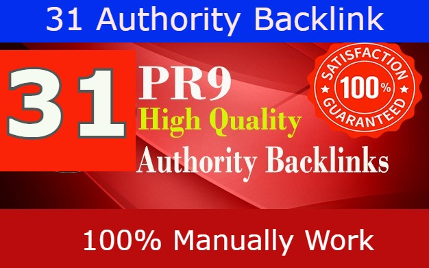 31 PR9 High Authority Backlinks From 31 HQ Profile links