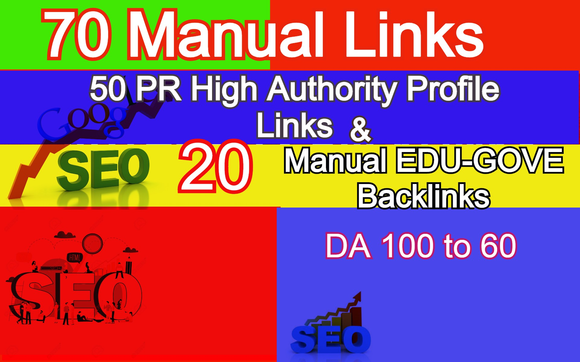 70 Authority Backlinks from 50 HQ Profile + 20 Edu.-Gov Profile Backlinks